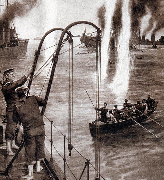 British destroyers rescuing the crew of V187 during the Heligoland Bight operation on 28th August 1914.