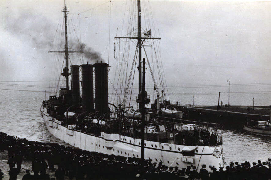 SMS Leipzig, German light cruiser at the Battle of the Falkland Islands on 8th December 1914 in the First World War