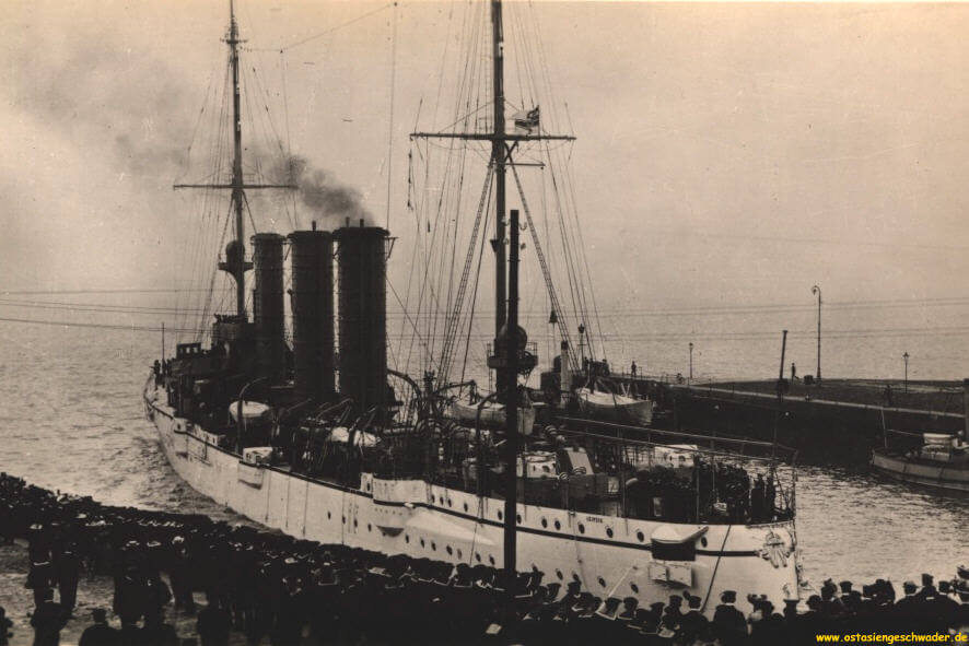 SMS Leipzig, German light cruiser at the Battle of the Falkland Islands on 8th December 1914