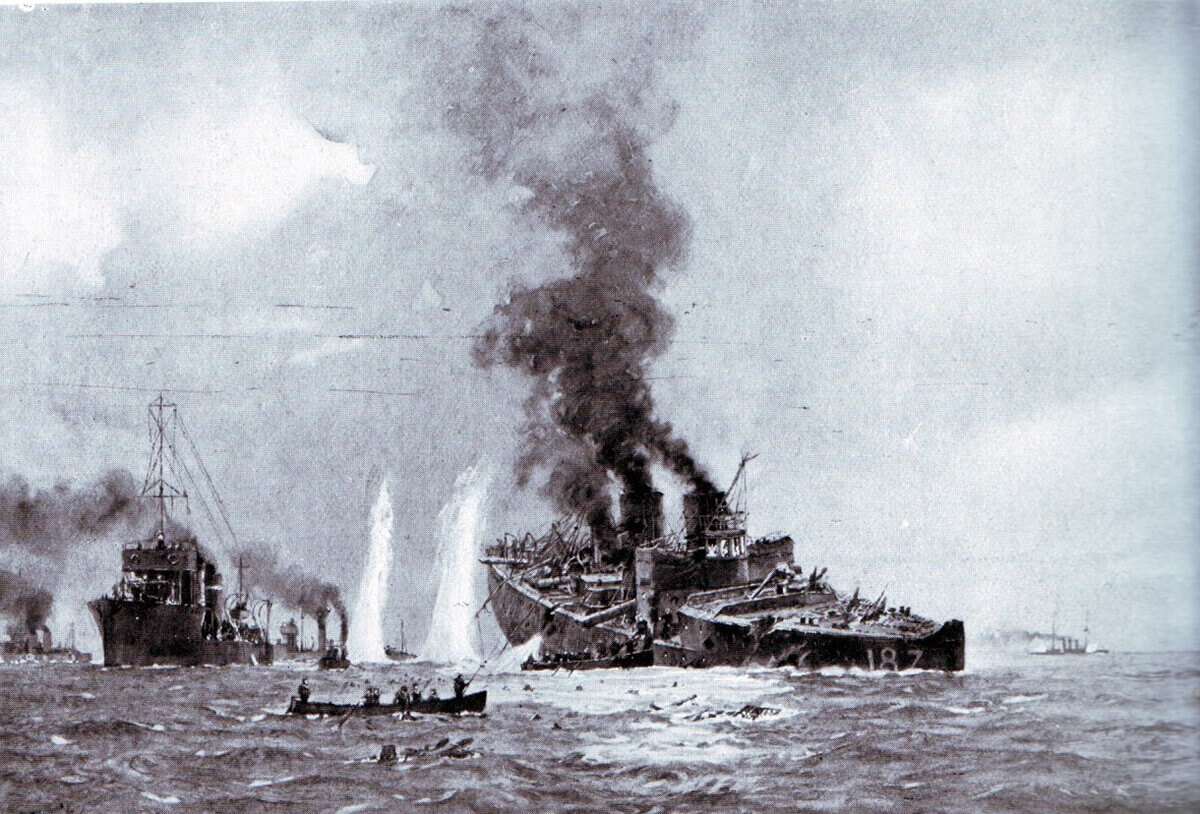 The German destroyer V187 sinking during the Battle of Heligoland Bight on 28th August 1914