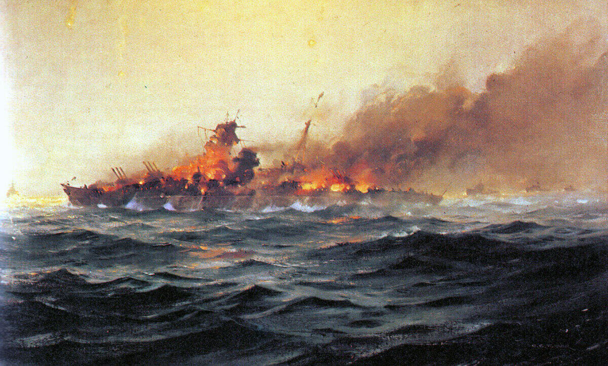 'Scharnhorst sinking': Battleship Scharnhorst built for the Third Reich in the 1930s, sunk by a British Fleet on 26th December 1943 in the Battle of the North Cape off the coast of Northern Norway in the Second World War: picture by C.E. Turner