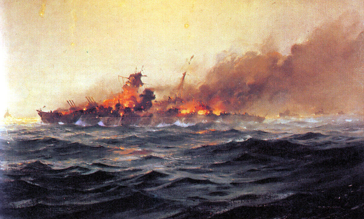 'Scharnhorst sinking': Battleship Scharnhorst built for the Third Reich in the 1930s sunk by a British Fleet on 26th December 1943 in the Battle of the North Cap off the coast of Northern Norway: picture by C.E. Turner