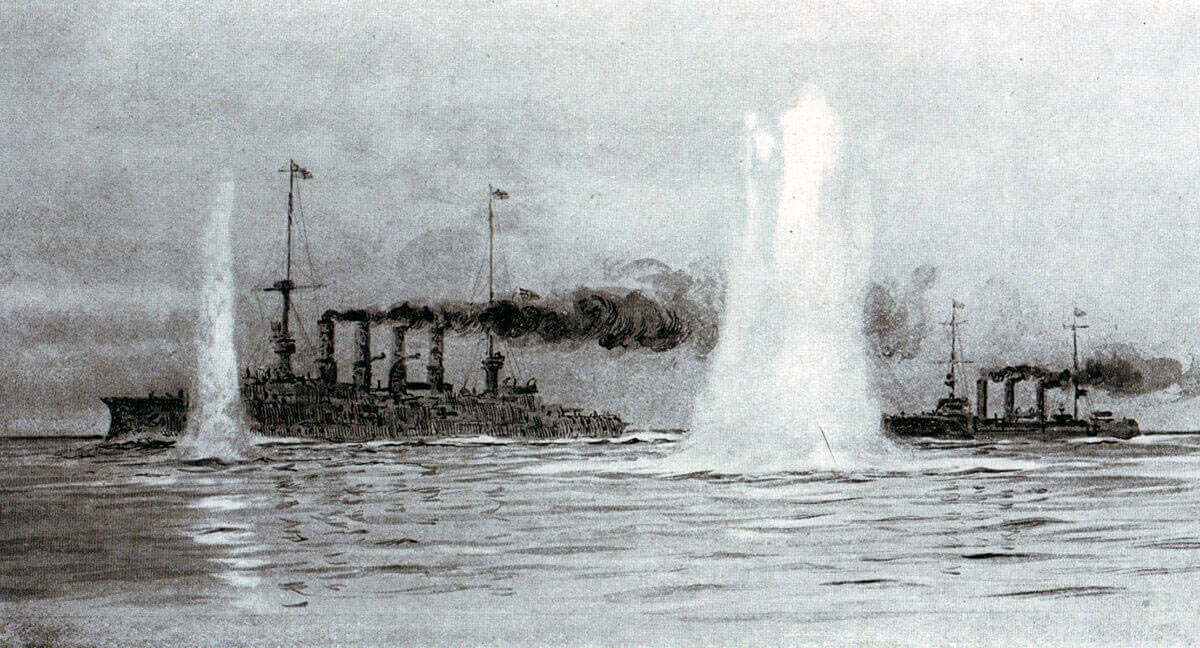 Shells fired by HMS Canopus splashing around SMS Gneisenau and SMS Nürnberg at the beginning of the Battle of the Falkland Islands on 8th December 1914 in the First World War: picture by Lionel Wyllie