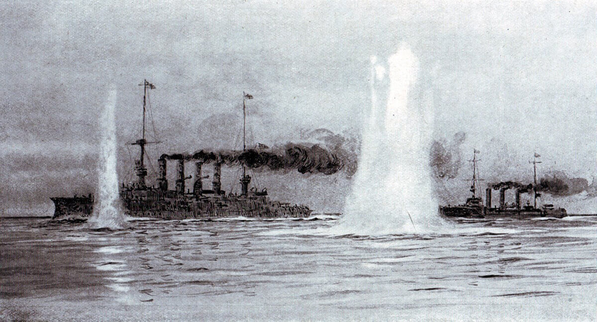 Shells fired by HMS Canopus splashing around SMS Gneisenau and SMS Nürnberg at the beginning of the Battle of the Falkland Islands on 8th December 1914: picture by Lionel Wyllie