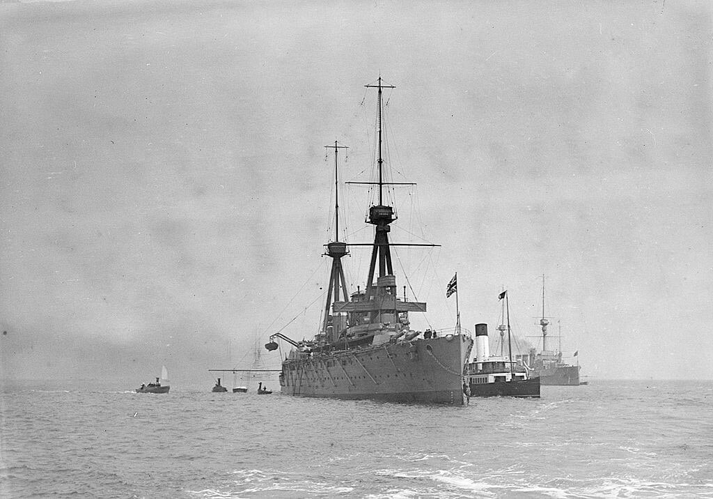 HMS Invincible, the British flagship at the Battle of the Falkland Islands on 8th December 1914, at Spithead in 1910