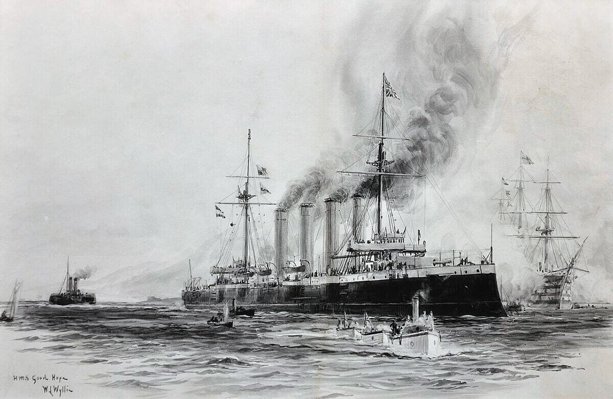 Admiral Sir Christopher Cradock's flagship the armoured cruiser HMS Good Hope: Battle of Coronel on 1st November 1914 in the First World War: picture by Lionel Wyllie in 1901