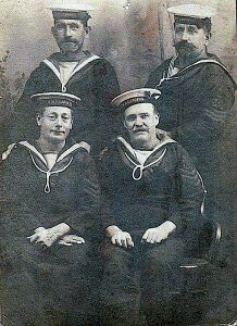Petty Officer 1st Class Thomas Justin (front left) with other crew from HMS Canopus 1914