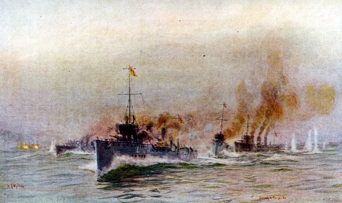 British destroyers engaging SMS Mainz during the Heligoland Bight operation on 28th August 1914: picture by Lionel Wyllie.