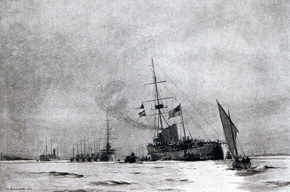 The British light cruiser HMS Arethusa limps into Harwich after the Heligoland Bight operation on 28th August 1914.