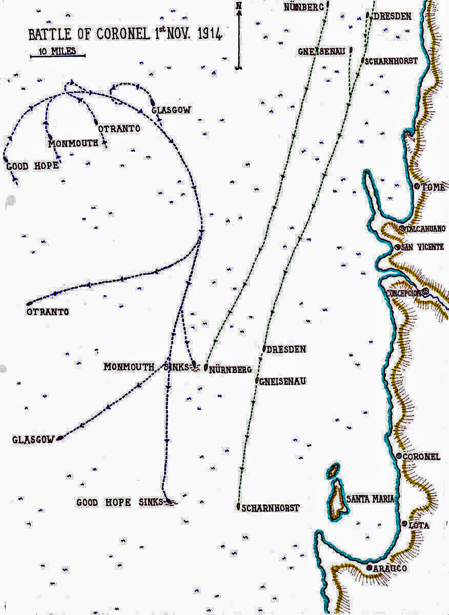 Map of theBattle of Coronel on1st November 1914 in the First World War: map by John Fawkes