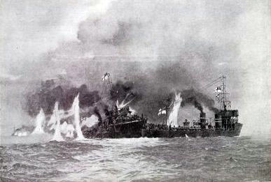HMS Lapwing of 1st Flotilla attempting to take HMS Laertes of 3rd Flotilla in tow during the Battle of Heligoland Bight on 28th August 1914.