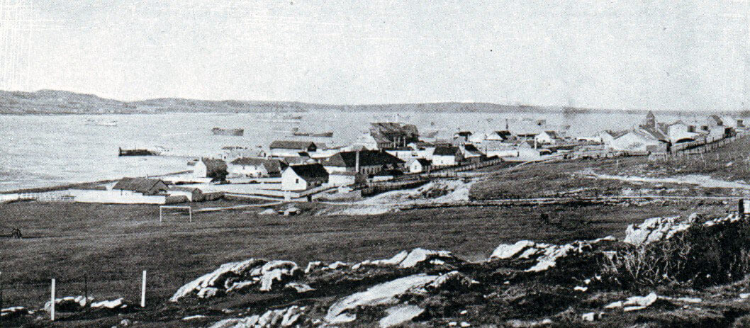 Port Stanley, Falkland Islands, in 1914: Battle of the Falkland Islands on 8th December 1914 in the First World War