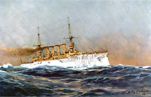 German Armoured Cruiser SMS Scharnhorst Flagship of Admiral Graf von Spee at the Battles of Coronel and Falklands in 1914in the First World War: picture by Willy Stoewer in 1905
