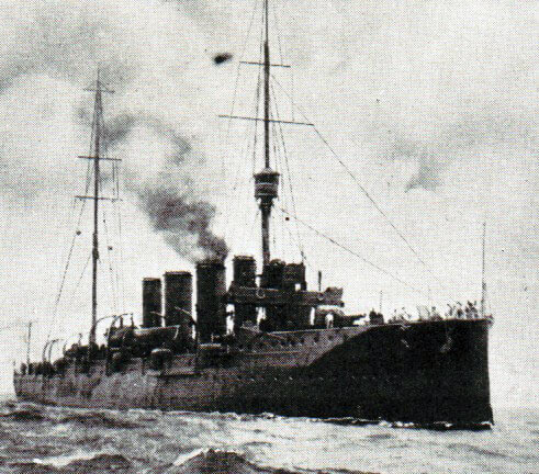 Rear Admiral Sir Christopher Cradock's light cruiser HMS Glasgow: Battle of Coronel on 1st November 1914 in the First World War