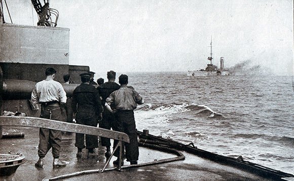 The sinking of the German light cruiser SMS Mainz during the Battle of Heligoland Bight on 28th August 1914; photograph taken from the deck of a British light cruiser.