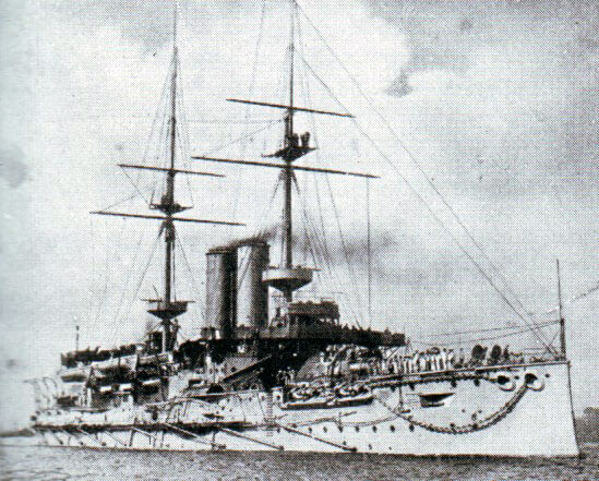 Rear Admiral Sir Christopher Cradock's aged battleship HMS Canopus:Battle of Coronel on1st November 1914 in the First World War