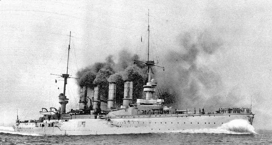 Admiral Graf von Spee's flagship the protected cruiser SMS Scharnhorst at sea:Battle of Coronel on1st November 1914 in the First World War