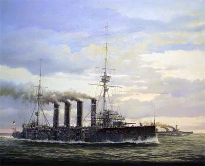 Rear Admiral Sir Christopher Cradock's flagship the armoured cruiser HMS Good Hope: Battle of Coronel on 1st November 1914 in the First World War