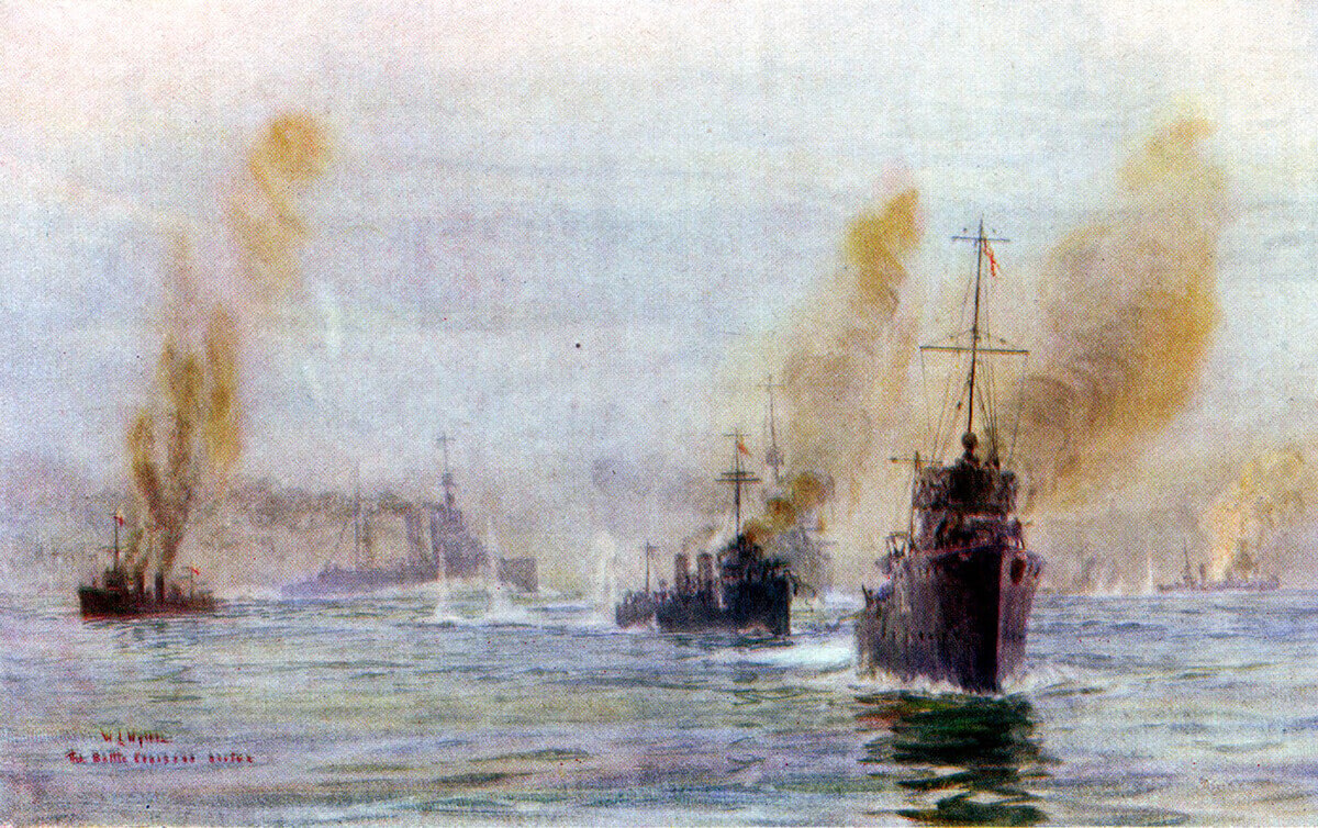 Beatty's battle cruisers arriving in the nick of time at the Battle of Heligoland Bight on 28th August 1914: picture by Lionel Wyllie.