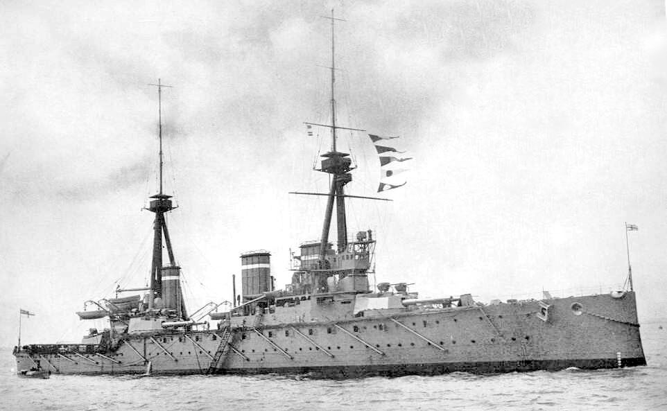 HMS Invincible, the British flagship at the Battle of the Falkland Islands on 8th December 1914