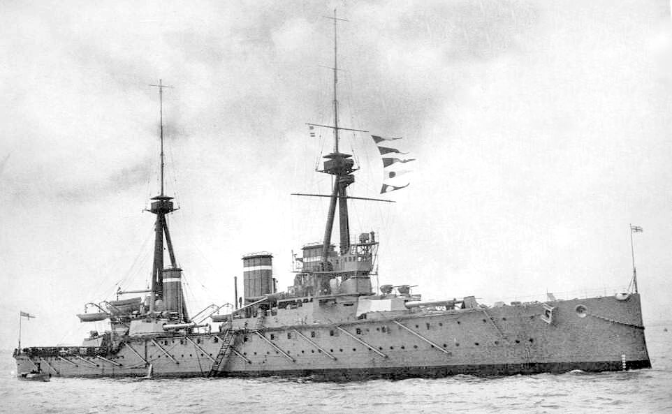 HMS Invincible, the British flagship at the Battle of the Falkland Islands on 8th December 1914. To buy a copy of this picture click here