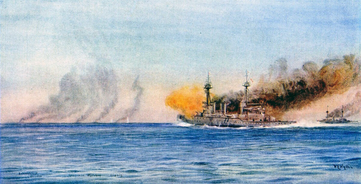 HMS Invincible and Inflexible open fire on von Spee's squadron during the Battle of the Falkland Islands on 8th December 1914 in the First World War: picture by Lionel Wyllie