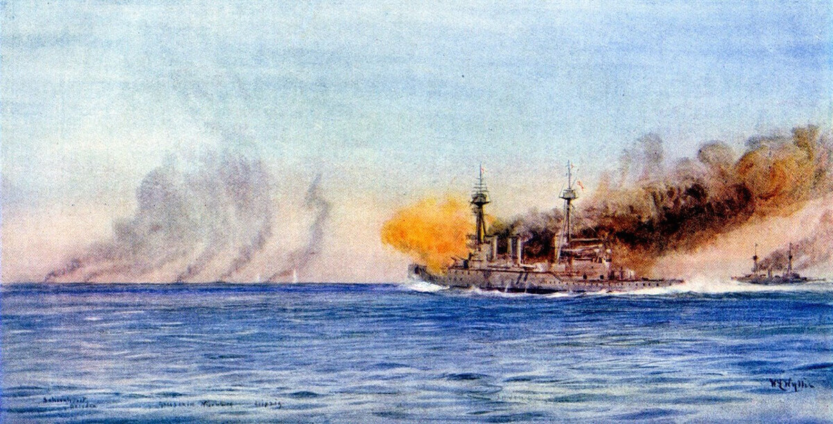 HMS Invincible and Inflexible open fire on von Spee's squadron during the Battle of the Falkland Islands on 8th December 1914: picture by Lionel Wyllie