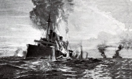 HMS Monmouth engaged at the Battle of Coronel on 1st November 1914 in the First World War