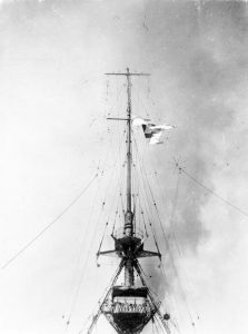 County flag of Kent hoisted on HMS Kent at the beginning of the Battle of the Falkland Islands 8th December 1914 in the First World War