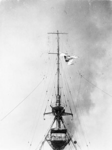 County flag of Kent hoisted on HMS Kent at the beginning of the Battle of the Falkland Islands 8th December 1914