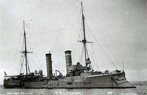 German light cruiser SMS Ariadne, sunk by Beatty's battle cruisers during the Battle of Heligoland Bight on 28th August 1914.