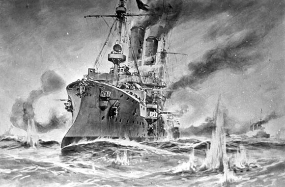 The German light cruiser SMS Ariadne under attack by Beatty's battle cruisers and about to sink during the Battle of Heligoland Bight on 28th August 1914.