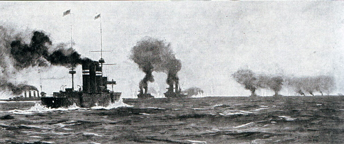 Opening stage of the Battle of the Falkland Islands on 8th December 1914 in the First World War, as the British ships leave Port Stanley in pursuit of the German squadron. The action is foreshortened; the German ships in the distance far right; Invincible and Inflexible centre; Glasgow left and Cornwall centre left