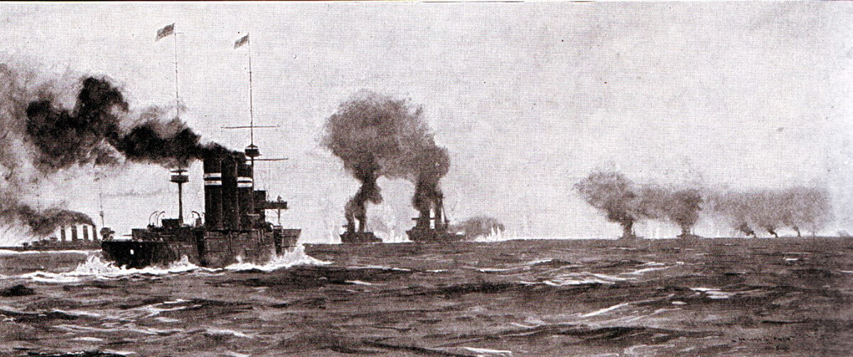 Opening stage of the Battle of the Falkland Islands on 8th December 1914 as the British ships leave Port Stanley in pursuit of the German squadron. The action is foreshortened; the German ships in the distance far right; Invincible and Inflexible centre; Glasgow left and Cornwall centre left.