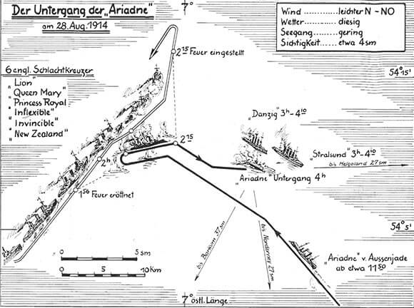 German map of the final stage of the Battle of Heligoland Bight on 28th August 1914 showing the sinking of the German light cruiser SMS Ariadne. The map is wrong in giving the presence of HMS Inflexible. Inflexible was in the Mediterranean Fleet.