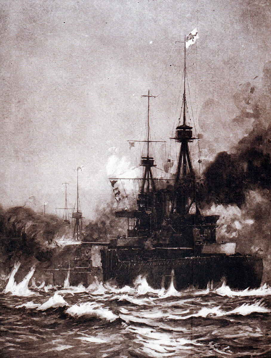 Beattie's battle cruisers in action at the Battle of Heligoland Bight on 28th August 1914.