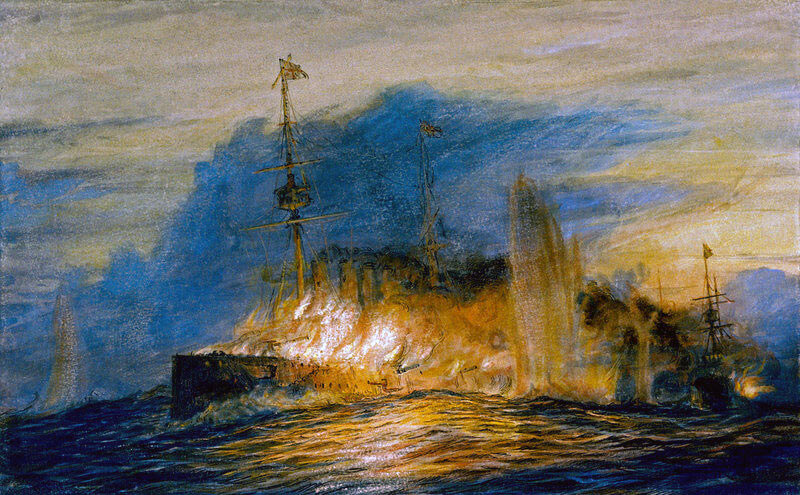 HMS Good Hope on fire towards the end of the Battle of Coronel, 1st November 1914 in the First World: picture by Lionel Wyllie