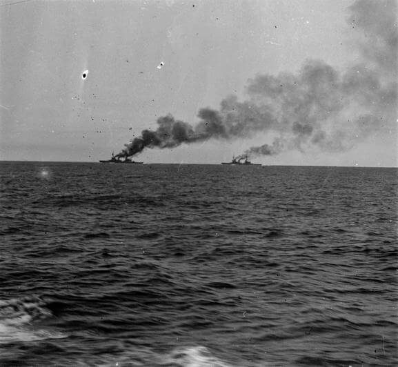 HMS Inflexible and Invincible seen from HMS Kent during the pursuit of the German squadron in the Battle of the Falkland Islands on 8th December 1914