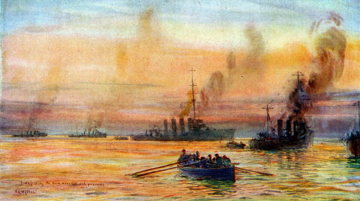 British ships moving casualties and prisoners by boat after the Battle of Heligoland Bight on 28th August 1914: picture by Lionel Wyllie.