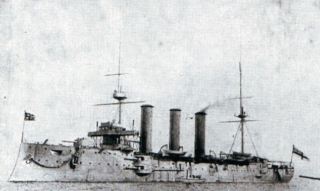Rear Admiral Sir Christopher Cradock's second armoured cruiser HMS Monmouth: Battle of Coronel on 1st November 1914 in the First World War