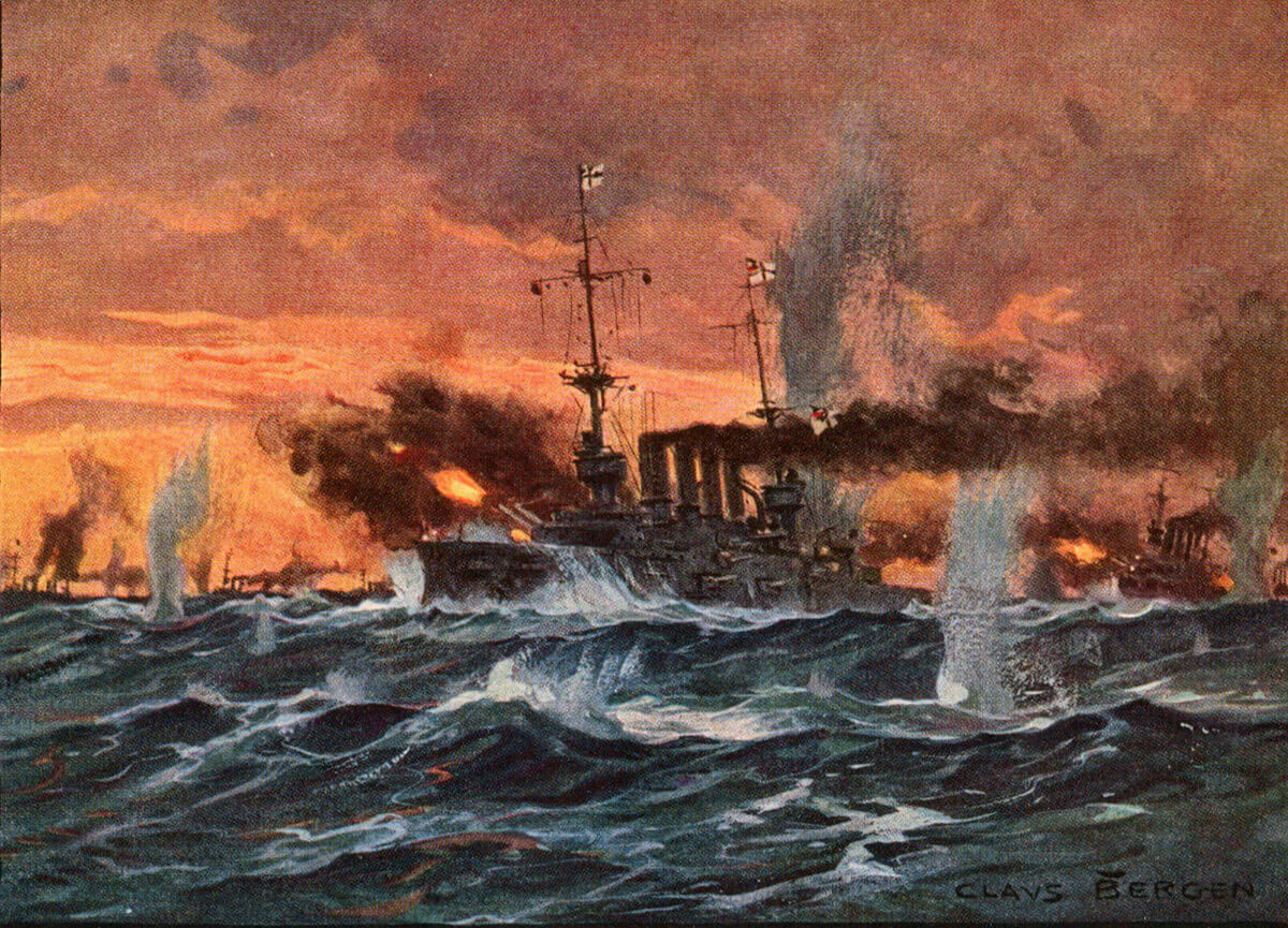 SMS Scharnhorst at the Battle of Coronel on 1st November 1914in the First World War: picture by Claus Bergen