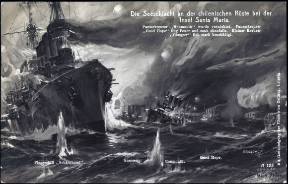 A German postcard celebrating the victory of Coronel, called the Battle of the Island of Santa Maria:Battle of Coronel on1st November 1914 in the First World War