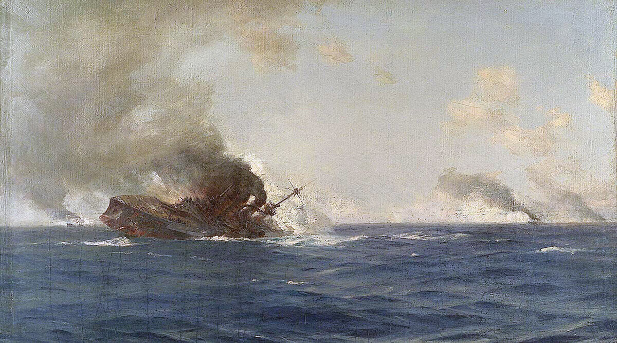 SMS Scharnhorst sinking at the end of the Battle of the Falkland Islands on 8th December 1914 in the First World War: picture by Thomas Somerscales