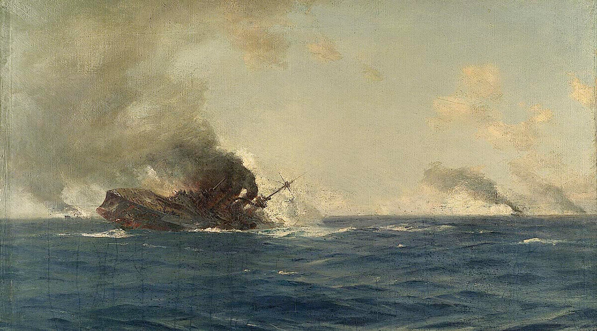 SMS Scharnhorst sinking at the end of the Battle of the Falkland Islands on 8th December 1914: picture by Thomas Somerscales