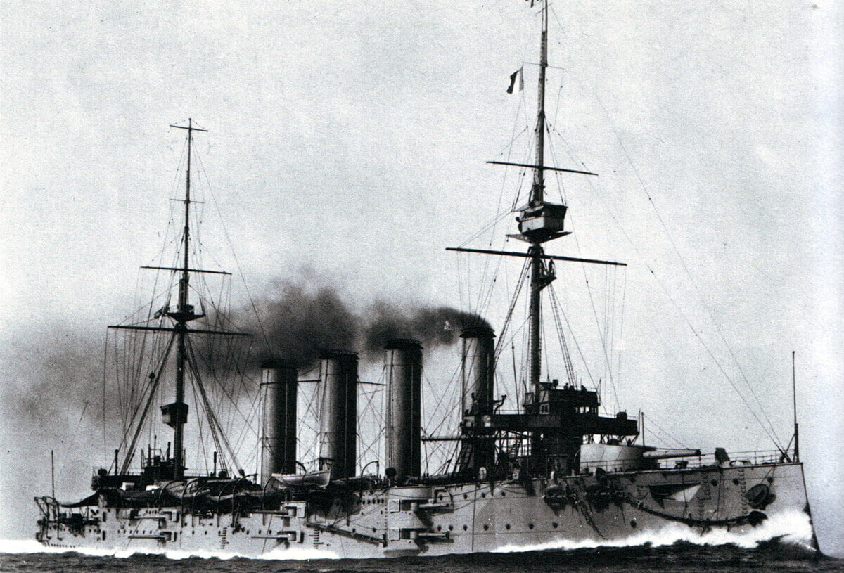 Flagship of Rear Admiral Sir Christopher Cradock the armoured cruiser HMS Good Hope: Battle of Coronel on 1st November 1914 in the First World War