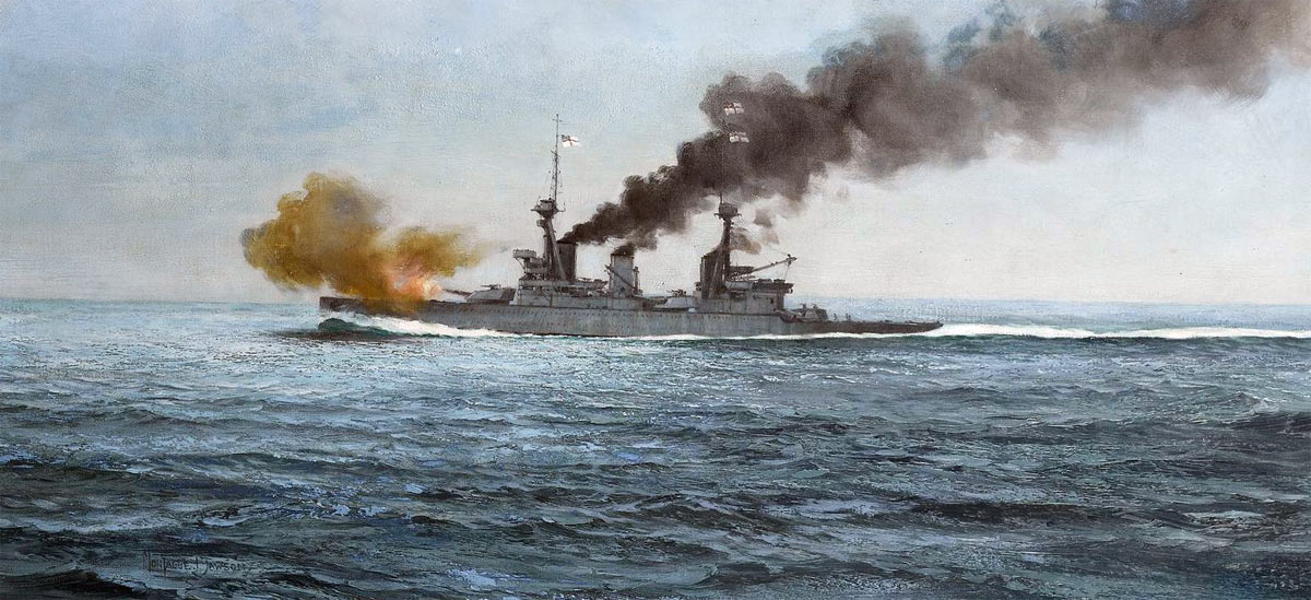 HMS Inflexible, the second British battle cruiser at the Battle of the Falkland Islands 8th December 1914 in the First World War: picture by Montague Dawson