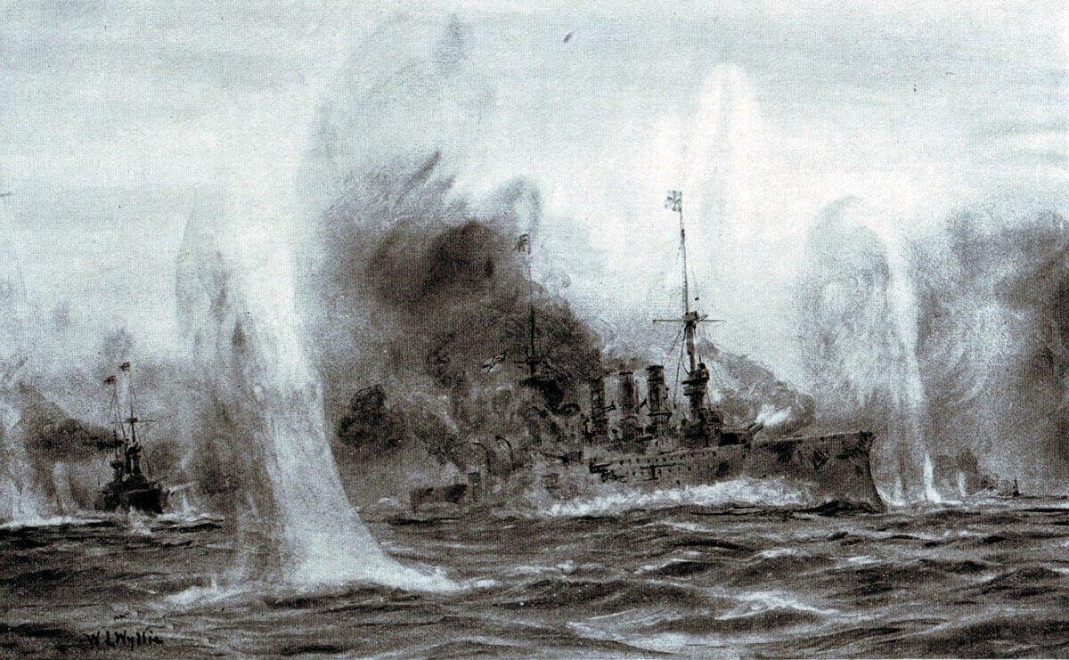 SMS Scharnhorst and Gneisenau engaged by HMS Invincible and Inflexible during the Battle of the Falkland Islands on 8th December 1914 in the First World War: picture by Lionel Wyllie