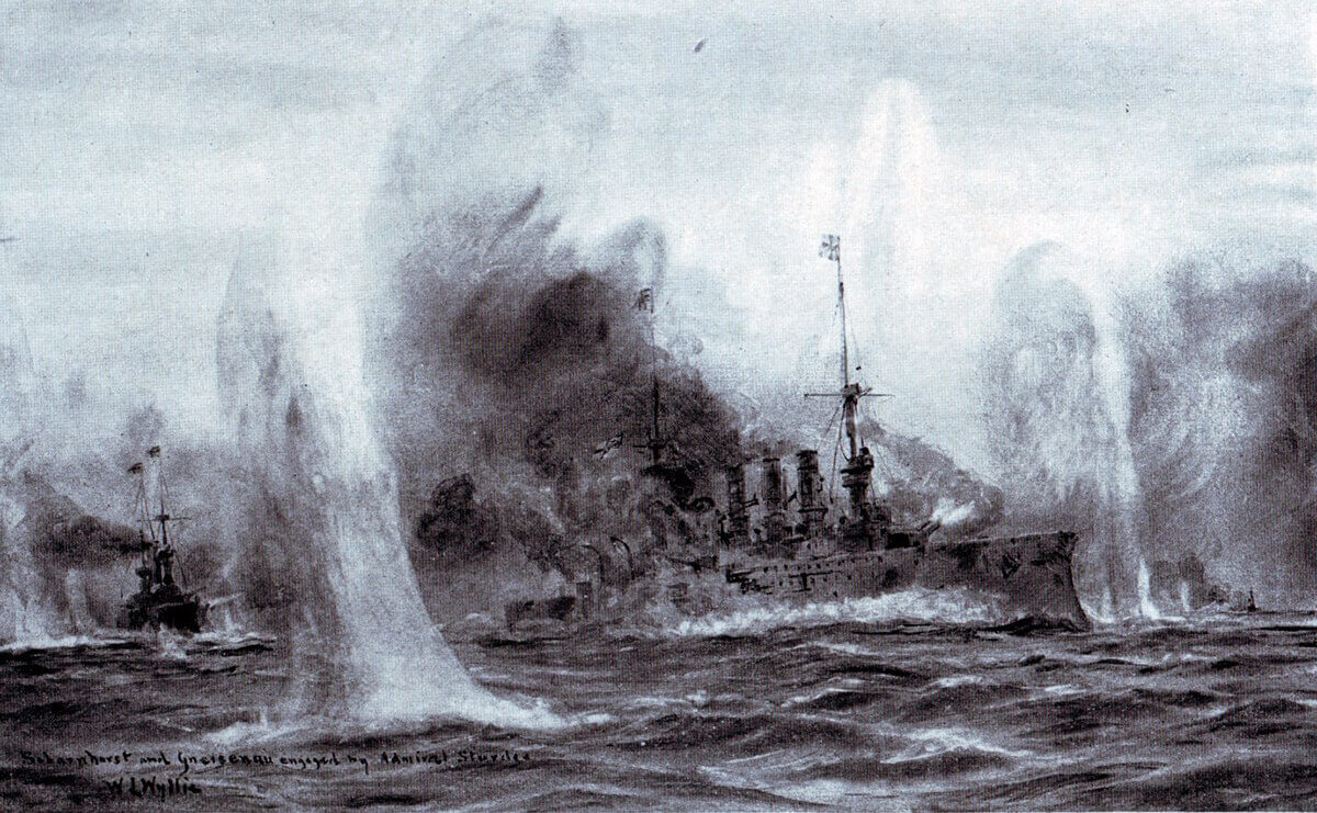 SMS Scharnhorst and Gneisenau engaged by HMS Invincible and Inflexible during the Battle of the Falkland Islands on 8th December 1914: picture by Lionel Wyllie