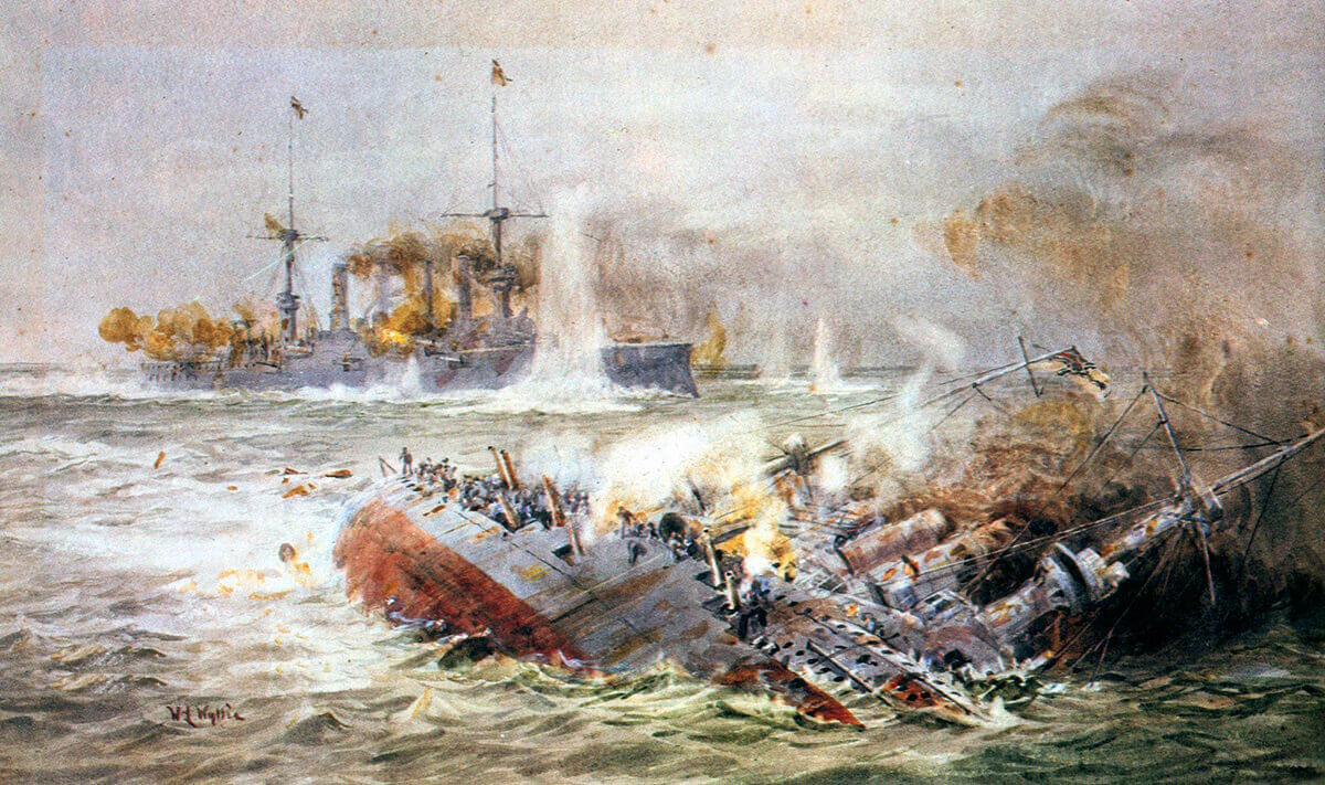 SMS Scharnhorst sinking (foreground) and SMS Gneisenau at the end of the Battle of the Falkland Islands on 8th December 1914 in the First World War: picture by Lionel Wyllie