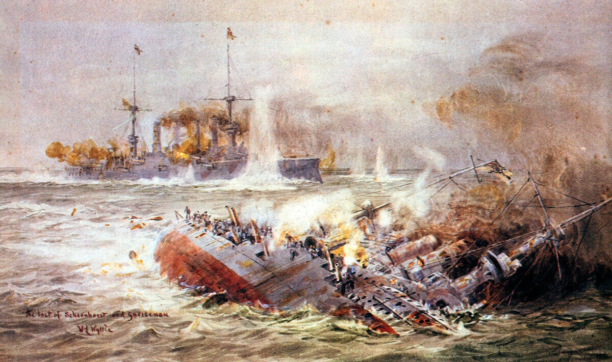 SMS Scharnhorst sinking (foreground) and SMS Gneisenau at the end of the Battle of the Falkland Islands on 8th December 1914: picture by Lionel Wyllie. To buy a copy of this picture click here